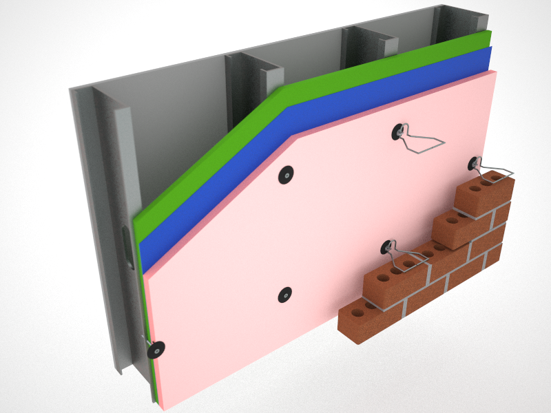 fastening system to attach rigid continuous insulation